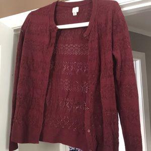 Sweaters - Maroon lacy cardigan
